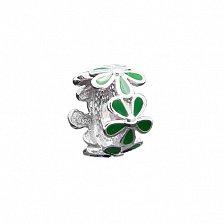 Серебряный шарм Цветник с зеленой эмалью