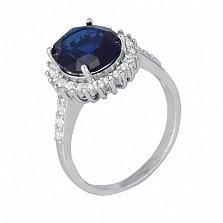 Серебряное кольцо Каролин с синим и белыми фианитами
