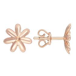 Серьги-пуссеты в розовом золоте Ромашка 000044992
