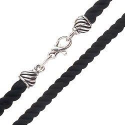 Шелковый шнурок с серебряной застежкой, 4мм 000042711