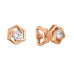Золотые серьги-пуссеты Princess Earrings в красном цвете с фианитами