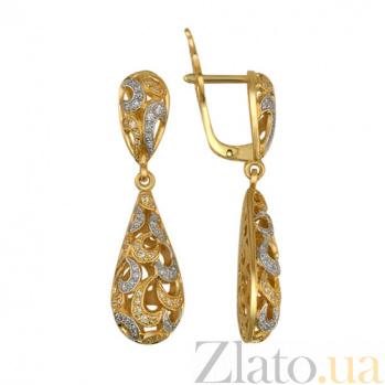 Серьги-подвески из желтого золота с цирконием Амели VLT--Т270-1