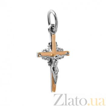 Серебряный крест с золотыми вставками Милосердие BGS--366п