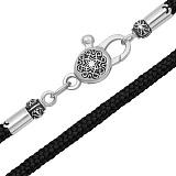 Тканевый шнурок Калисто с серебряной черненой узорной застежкой