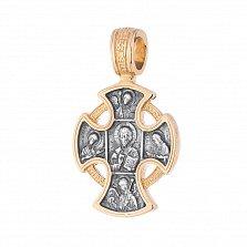 Серебряный крест Ангел-Хранитель с позолотой и чернением