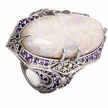 Золотое кольцо Намибия с опалом, аметистами и бриллиантами