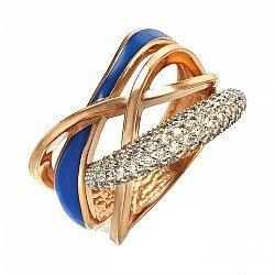 Кольцо в красном золоте с эмалью и фианитами 000059835
