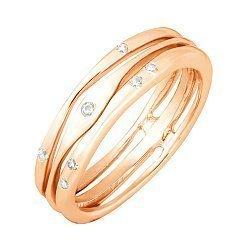 Позолоченное серебряное кольцо с фианитами 000028241