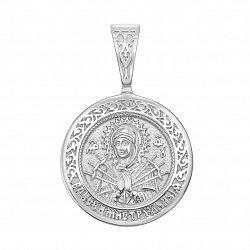 Узорная серебряная ладанка Семистрельная Божья Матерь с родированием 000129519