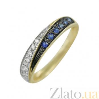 Золотое кольцо с сапфирами и бриллиантами Волны 000026879