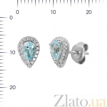 Серебряные серьги-пуссеты Гвендолин с топазом и фианитами 000081965