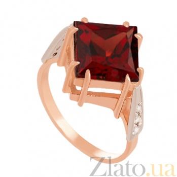 Золотое кольцо с гранатом и фианитами Афият VLN--112-1377-3