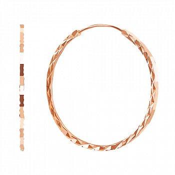Серьги-кольца из красного золота с алмазной гранью, 30 мм 000104005
