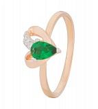 Позолоченное кольцо из серебра с зеленым цирконием Lovely