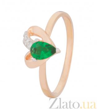 Позолоченное кольцо из серебра с зеленым цирконием Lovely 000025561