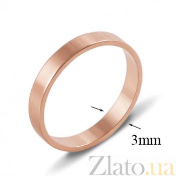Золотое обручальное кольцо Классический стиль 10103/01/0