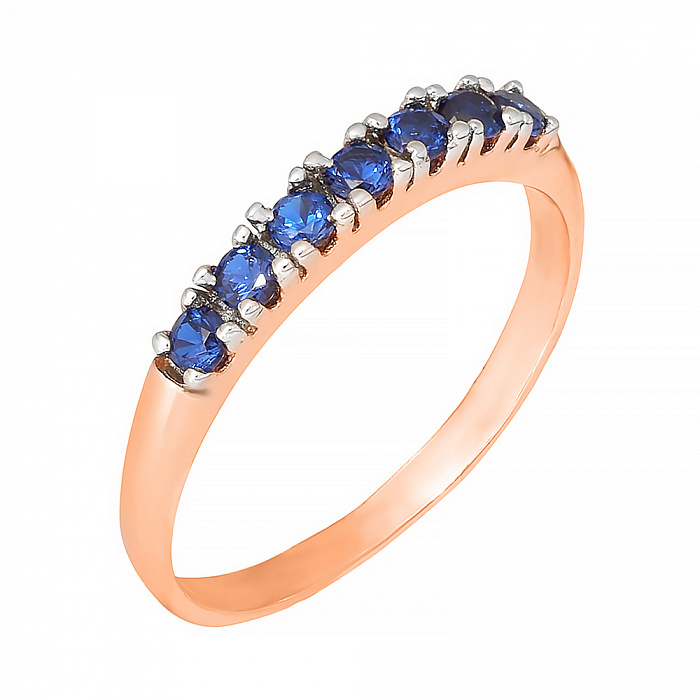 Позолоченное серебряное кольцо с синими фианитами Хельга 000028447