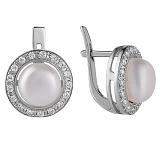 Серебряные серьги с жемчугом Кувшинка