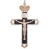 Золотой крестик Господь Вседержитель с эмалью