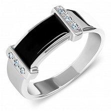 Серебряный перстень-печатка Леопольд с фантазийной шинкой, черной эмалью и дорожками белых фианитов