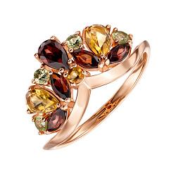 Кольцо из красного золота с гранатами, цитринами и хризолитами 000135500