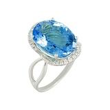 Золотое кольцо Электра с топазом и бриллиантами