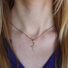 Золотой крестик Милость Господня в комбинированном цвете с бриллиантом