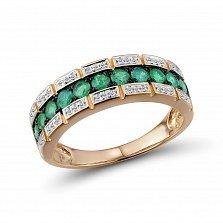Кольцо из красного золота Злата с бриллиантами и изумрудами