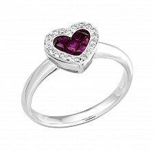 Золотое кольцо Сияющее сердечко в белом цвете с рубинами и бриллиантами