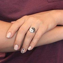 Серебряное кольцо Круг ИньЯн с черными и белыми фианитами