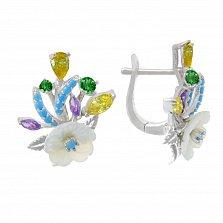 Серебряные серьги Милый букет с разноцветными фианитами и перламутром