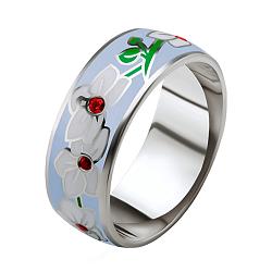 Эксклюзивное обручальное кольцо Чудесная орхидея с рубинами и эмалью