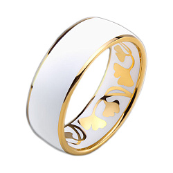 Золотое обручальное кольцо Гинкго Билоба с эмалью (мужское)