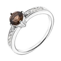 Серебряное кольцо с раухтопазом и фианитами 000140133