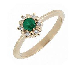 Золотое кольцо с изумрудом и лейкосапфирами 000050839