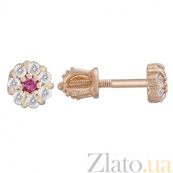 Золотые серьги-пуссеты Весенний цветочек с фианитами  LEL--80292