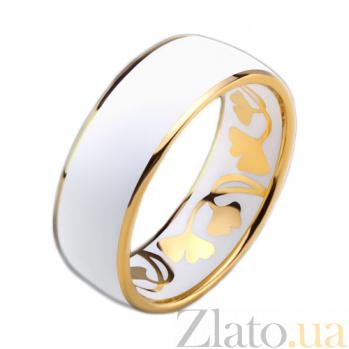 Золотое обручальное кольцо Гинкго Билоба с эмалью (мужское) PRT--R-PTZ-E1