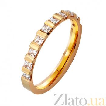 Золотое обручальное кольцо Верность с фианитами TRF--412929