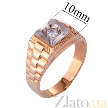 Золотое кольцо-печатка с фианитом Роберт ONX--кю00906