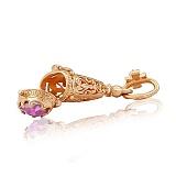 Золотая ладанка-мощевик Заступница с розовым и белым фианитами