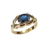 Золотое кольцо в красном цвете с сапфиром Деметра