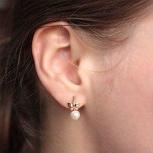 Золотые серьги Легкая бабочка с жемчугом