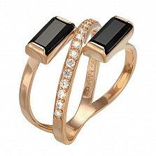 Кольцо в красном золоте Агния с агатом и фианитами