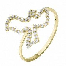 Кольцо из желтого золота с цирконами Птица мира