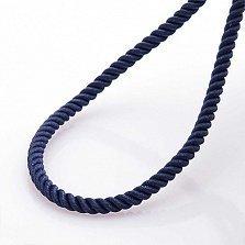 Шелковый синий шнурок Спаси и сохрани с серебряной позолоченной застежкой, 3мм