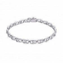 Серебряный браслет с бриллиантами Степ, 5мм