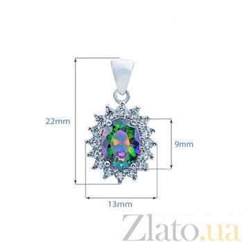 Серебряный кулон с мистик топазом Фиорентина AQA--Шп239МТ