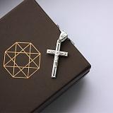 Серебряный крест с белой эмалью Небесный спаситель