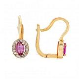 Золотые серьги с турмалином и бриллиантами Элиза