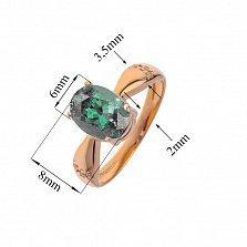 Кольцо в красном золоте Жаклин с синтезированным зеленым кварцем и фианитами